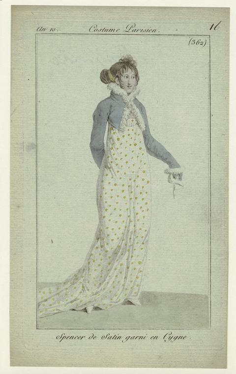"""""""Spencer de Satin garni en Cygne"""", Journal des Dames et des Modes, 1807? (1801?); NYPL 801918   A discreet Regency Wedgie"""