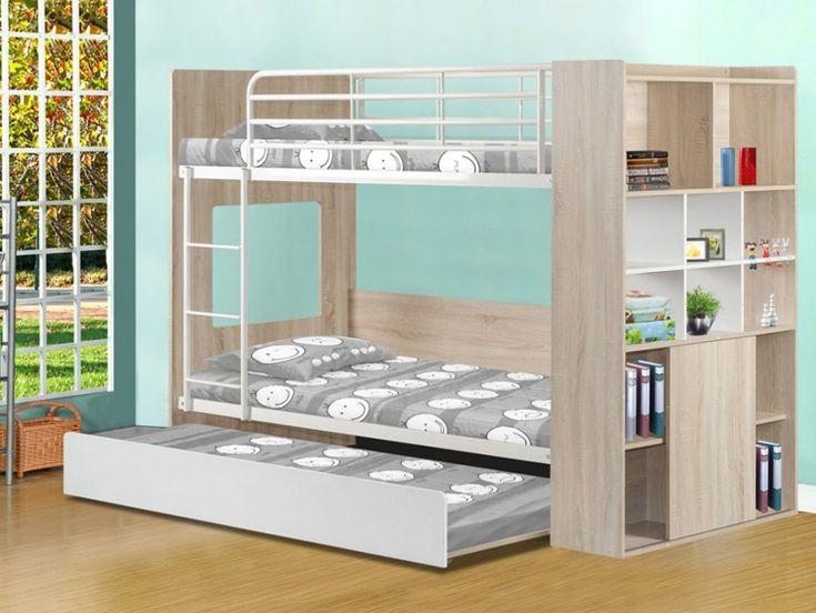 Lits superposés MARCUS avec lit gigogne - Etagères intégrées - Blanc