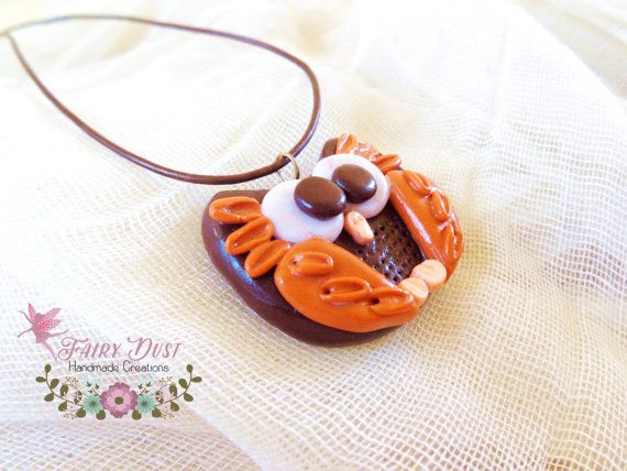 "Polymer Clay ""Owl"" Necklace - Funny Necklace - Funny Gift - Cute Necklace - Handmade Jewelry - Brown & Orange Pendant - Glittery White Eyes"