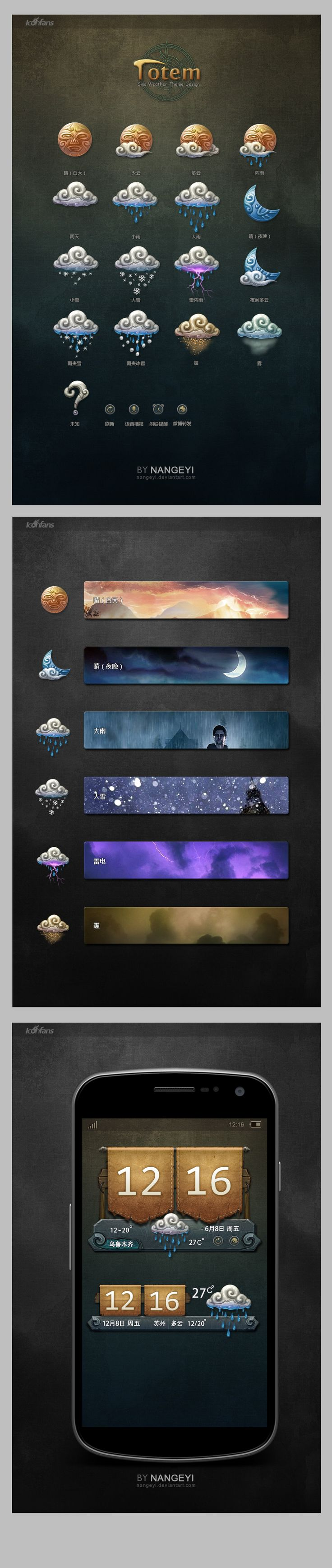 "weather icons and wiget by nangeyi *** "" Since I have been working in gaming industry, I have been affected by the magic culture. The mysterious power,weird totem style and peculiar world outlook can always bring me more inspirations.  Well,I want to spread the mysterious,weird,dark feeling to it's fan.Hope you will like the set of weather wiget """