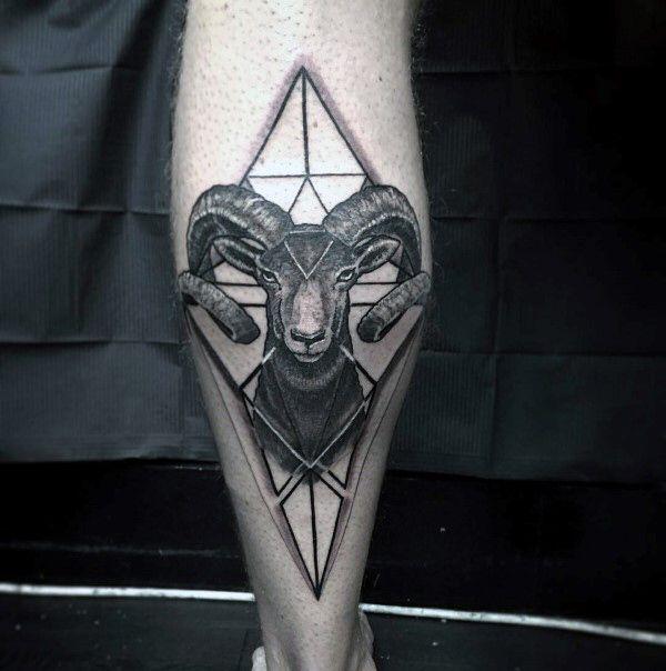 Geometric 3d Ram Back Of Leg Calf Mens Tattoos