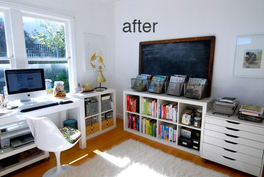 sfgirlbybay's home office: Chalkboards, Offices Design, Crafts Rooms, Ikea Office, Workspaces, Offices Ideas, Wire Baskets, Offices Organizations, Home Offices