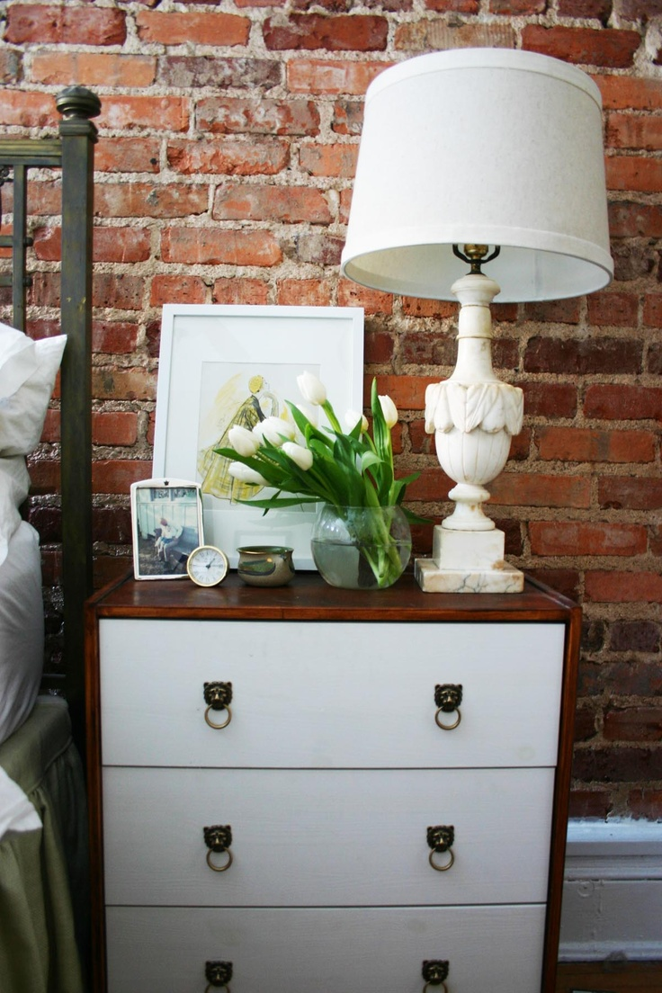 IKEA Rast hack | Alabaster lamp | White tulips | Exposed brick wall
