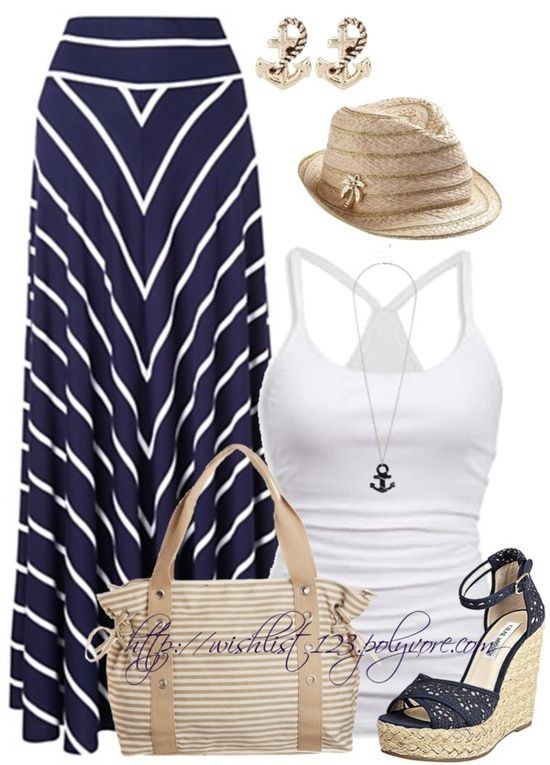 navy maxi, tank and hat