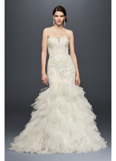 David's Bridal Beaded Mermaid Wedding Dress with Tulle Skirt SWG760 $1,358 - $1,458