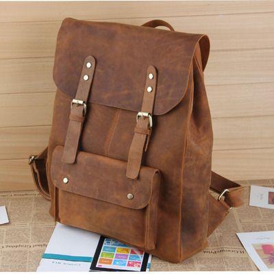 "Large Handmade Vintage Leather Backpack / Leather Satchel / Leather Travel Bag / Day Pack / Weekend Bag / 17"" MacBook 17"" Laptop Bag - B01"