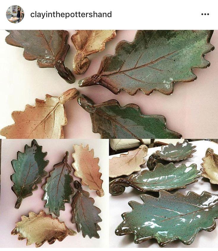 Ceramic stoneware leaves.