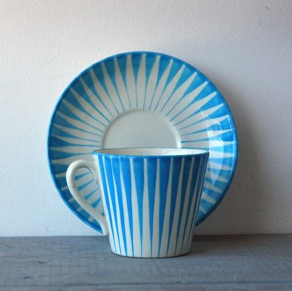 Blue Upsala-Ekeby Gefle Zebra Cup