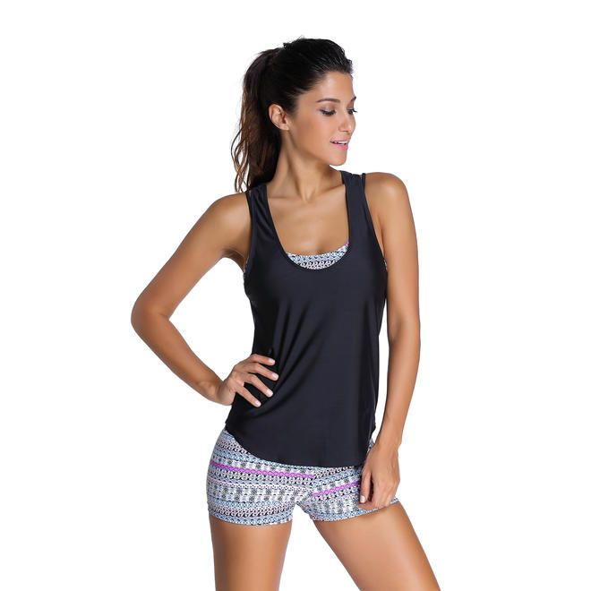f69e20c93aeb0 Cali Chic Cali Chic Juniors  Swimsuit Celebrity Grayish Sports Bra Tankini  Swimsuit with Black Vest NEW! HOT!