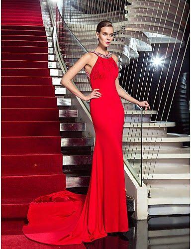 Vestido de noche rojo con cola @ Vestidos de Fiesta Baratos