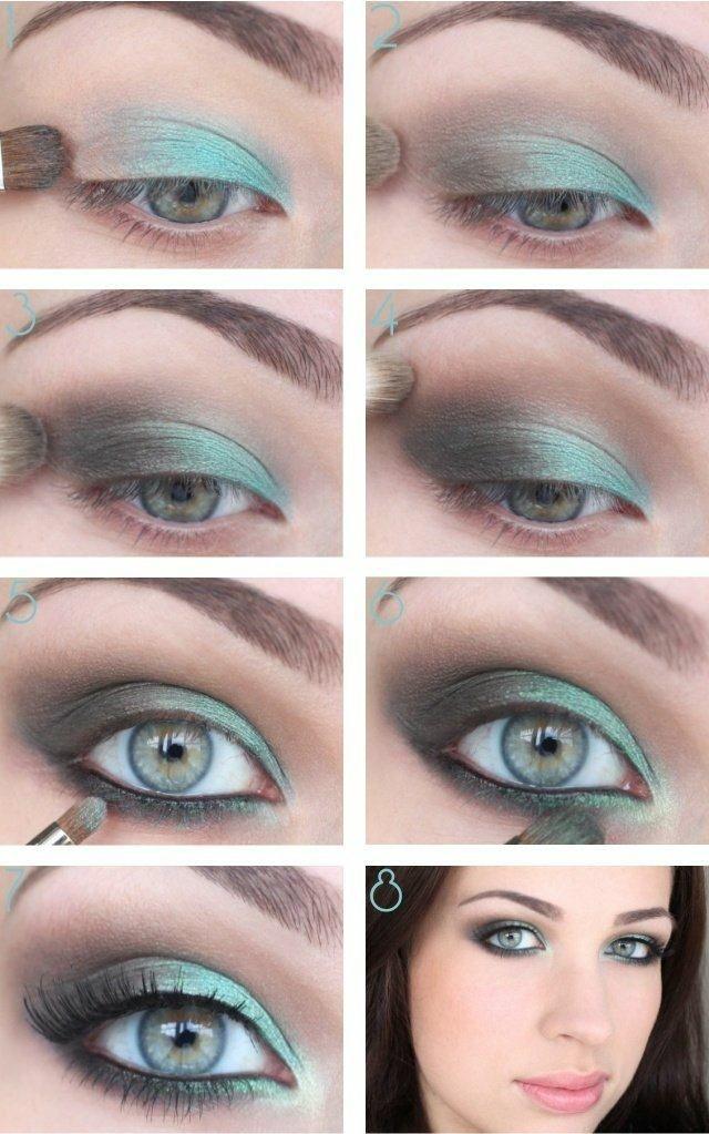 Türkis und Grau als Augen Make-up