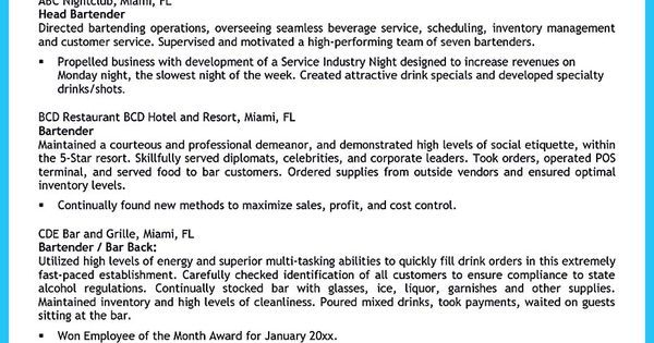 Nice Excellent Ways To Make Great Bartender Resume Template Check