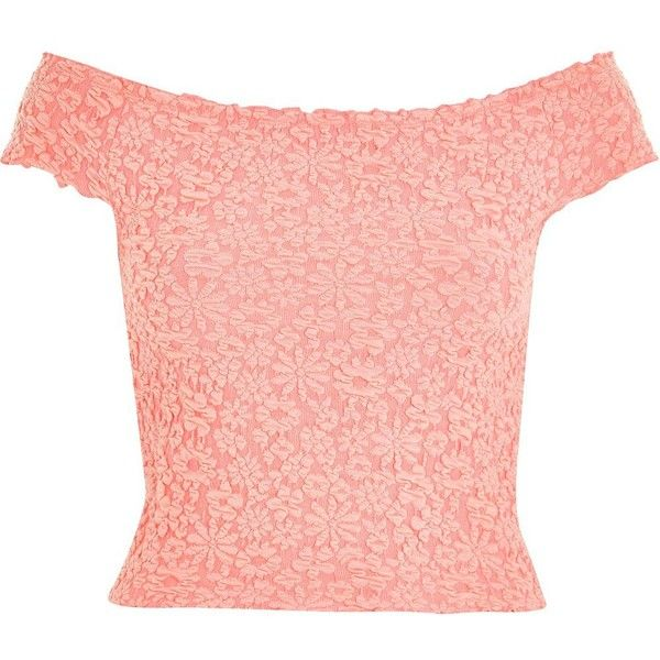 River Island Pink textured floral bardot top ($12) ❤ liked on Polyvore featuring tops, crop top, sale, floral crop top, floral print crop top, tall tops, pink floral top and river island