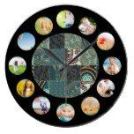 Teal Tan Paisley Quilted Pattern Photo Collage Wall Clock  #Clock #Collage #paisley #Pattern #Photo #Quilted #RusticClock #Teal #Wall The Rustic Clock
