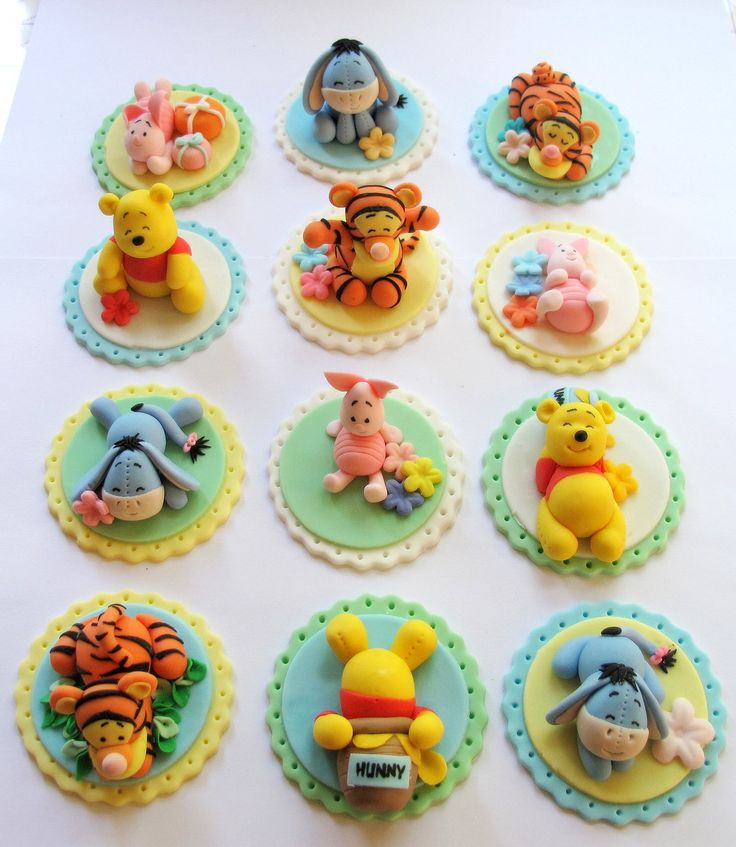 Winnie The Pooh Inspired Cake/Cupcake Topper - Fondant Cake and Cupcake Topper - 12 Pcs. $52.00, via Etsy.