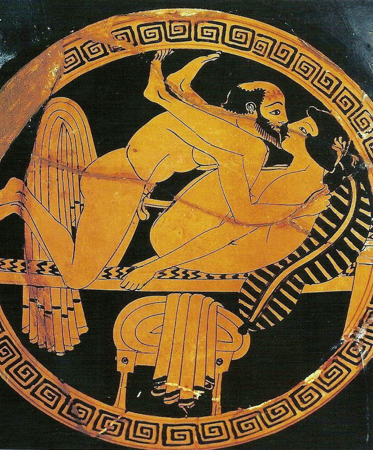 CRATERA CON MOTIVO ERÓTICO. Ceramica, s. IV a.C., conservada en el Museo de Tarquinia Italia.