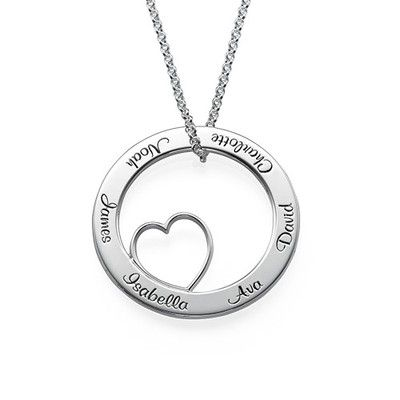 With our <b>Family Love Circle Pendant Necklace</b> the heart is the center of family. Get your <a href=./category.aspx?p=218>mom jewelry</a> with a personal touch. Put her loved ones' names on the outside of this circle necklace for a stylish Mother's Day gift she will never forget. Whenever she looks at it, she will remember her family, the most important thing in her heart!<br> This Family Love Circle Pendant Necklace is made out of...
