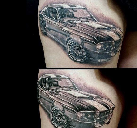 White And Grey Ink Mustang Guys Thigh Tattoos