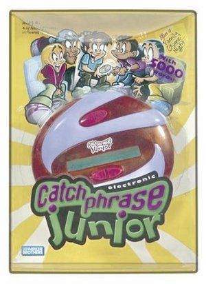 Electronic Catch Phrase Jr. by Hasbro. $20.76. 4 or more players in two teams.. Ages 8 and up. From the Manufacturer                Do whatever it takes to get your team to guess the word in the Catch it ¿ Say it ¿ Pass it game, now especially for kids! Remember to pass the game quickly to the next team¿ before it buzzes you! Features 5,000 words, built-in timer and scorekeeper.                                    Product Description                Do whatever it tak...