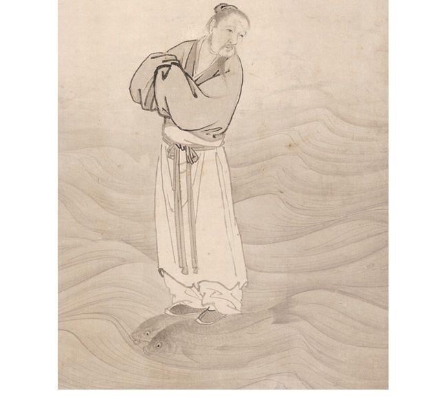円山応挙筆:紙本墨画「波上群仙図」