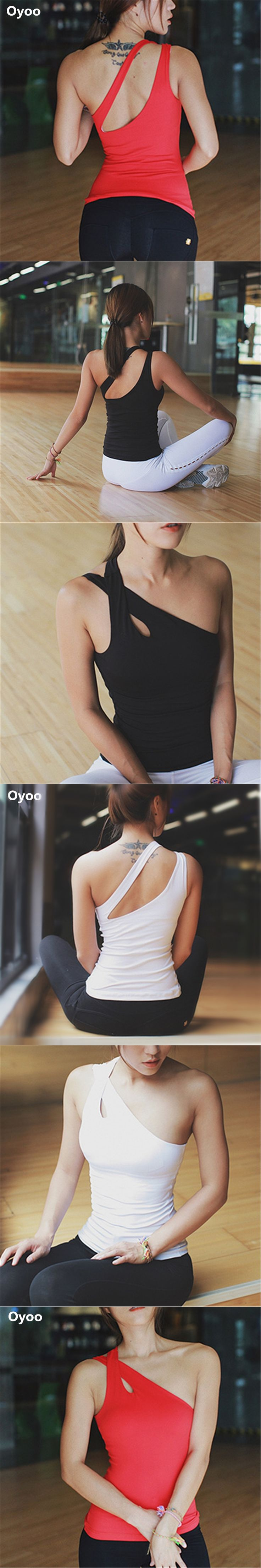 Oyoo one-shoulder red padded yoga tops women's sleeveless sport fitness tank top running shirts white gym clothes sexy vest