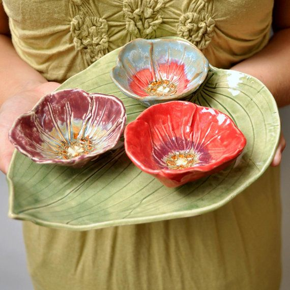 Poppy sushi bowl dipping sauce size handmade stoneware pottery Ice Blue and Red. $16.00, via Etsy.
