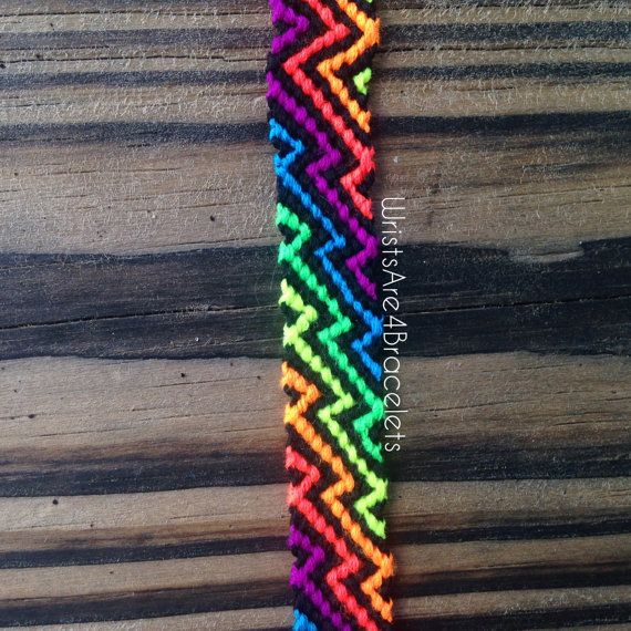 Zig Zag Friendship Bracelet Neon Rainbow by WristsAre4Bracelets