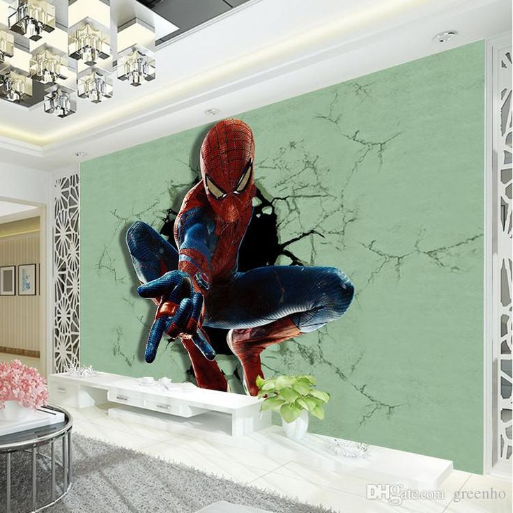 Superhero Bedroom Wallpaper Bedroom Accessories Bedroom Ideas Young Couple Bedroom Furniture Floor Plan: 3D Spiderman Photo Wallpaper Superhero Wallpaper Boys Kids