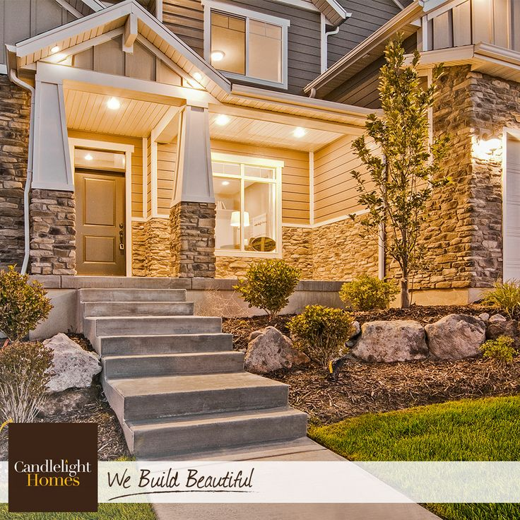 This stone and Hardie combination makes this craftsman exterior a feast for the…