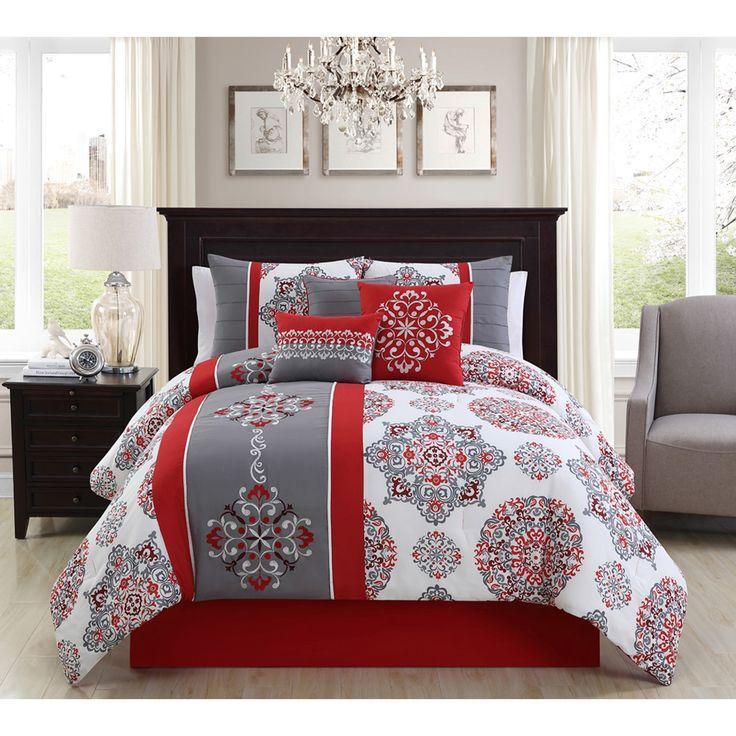 eLIGHT Precious Red Embroidery 7-piece Comforter Set