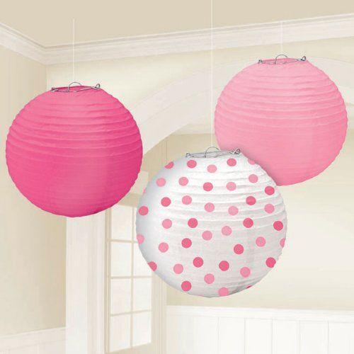 Round Paper Lanterns in Pink (set of 3)