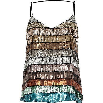 Turquoise multi coloured sequin cami top £35.00