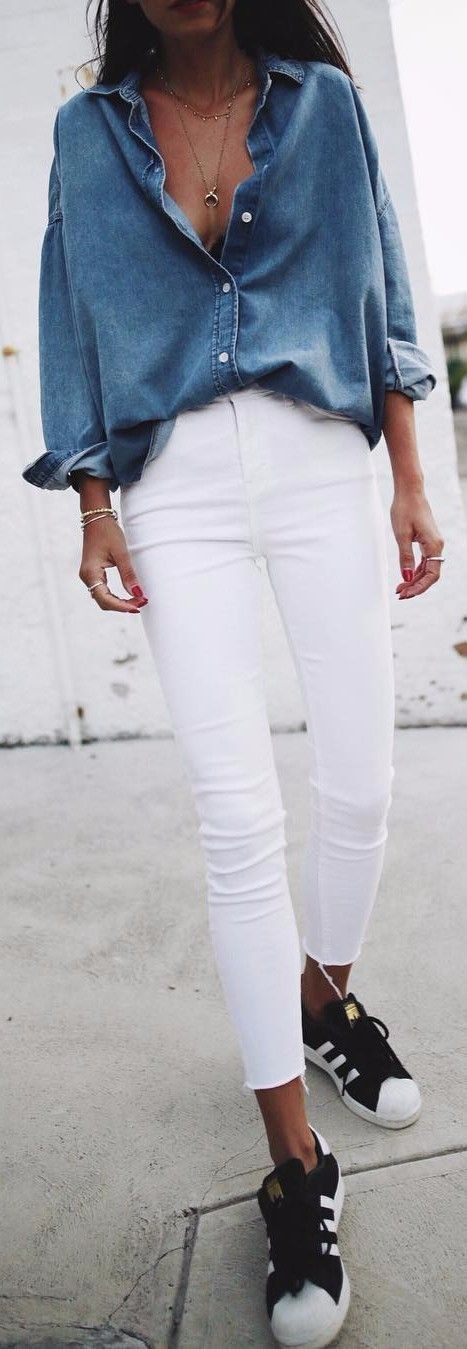 #winter #outfits blue denim button-up jacket and white skinny crop jeans