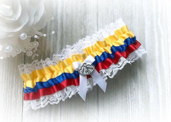 Colombian Flag Wedding Garter