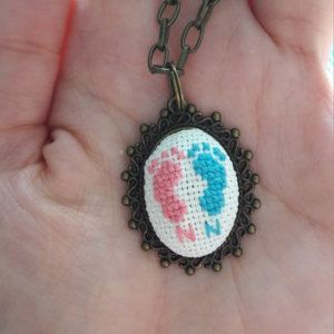 Hand embroidered jewelry and bookmarks by NeedleSChoice on Etsy
