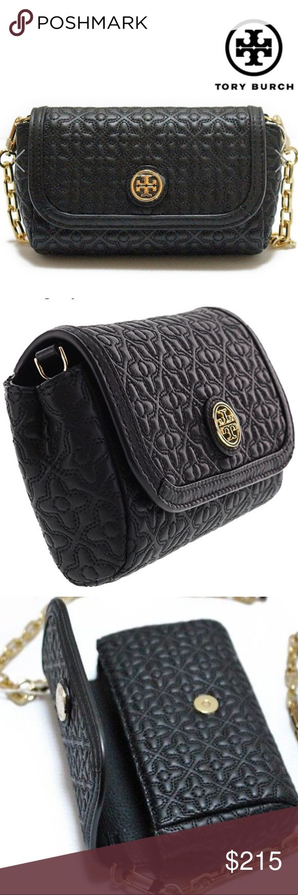 """tory burch // bryant quilted leather crossbody NWT Tory Burch Bryant quilted leather crossbody with gold hardware and magnetic flap closure. Double stacked T logo in front. Optional chain with leather strap: length 22.5"""". Interior has TB logo fabric lining and 2 card slots.   6"""" (L) x 3.75"""" (H) x 1.75"""" (W) Tory Burch Bags Crossbody Bags"""