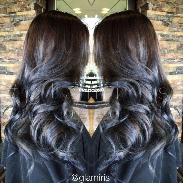 Smokey Gray Blue Balayage Ombre Glamiris Hair