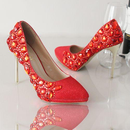 chaussures de soirée femme escarpin rouge aux strass escarpin pas cher à talon aiguille
