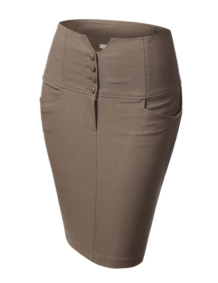 Womens 4 Button V-Detail Pencil Skirt with Pockets #doublju