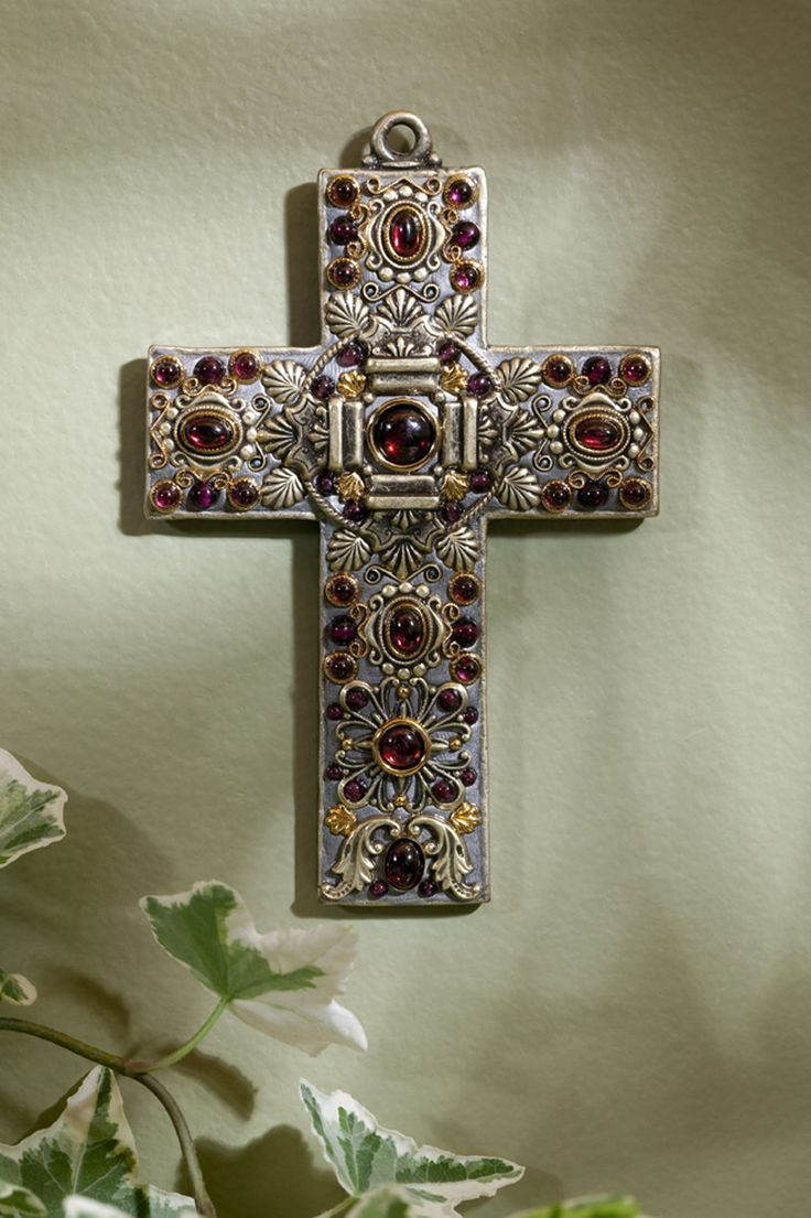 Garnets so stunning and lovely. This gemstone wall cross has a classic design that is timeless. Such delicate design and elegant detail! Can also be worn as a pectoral cross on a cord. - Cross Measure