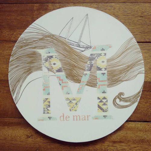 """ M de mar "" porta calientes, pieza única #Himallineishon #art #handmade #sea #boat #m"