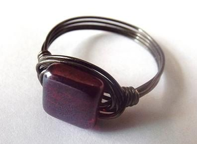 Red glass ring Czech bead ring black and red by PepperandPomme
