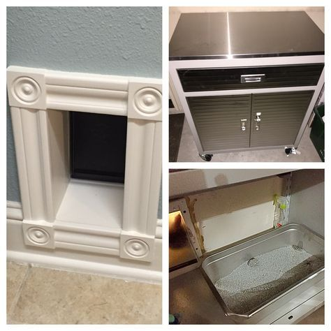 I got so sick of smelling the litter box and the dogs digging in it. Pinterest to the rescue. I cut a hole in the wall leading from the laundry room to the garage. Framed it out. Added a small doggie door from Lowes.  Hid the new stainless steel litter box (steam table pan from restaurant supply) that doesn't absorb smells (plastic does) in a $99 metal cabinet from Sam's Club. Viola!  Hidden litter box!  No more mess. Thanks Pinterest!