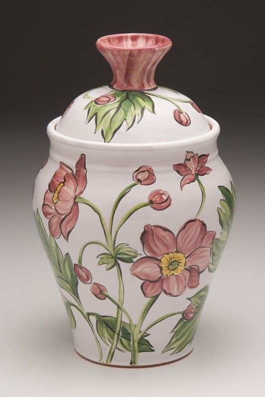 Earthenware Pottery Lidded Jar. Majolica by GwenFryarPottery, $55.00