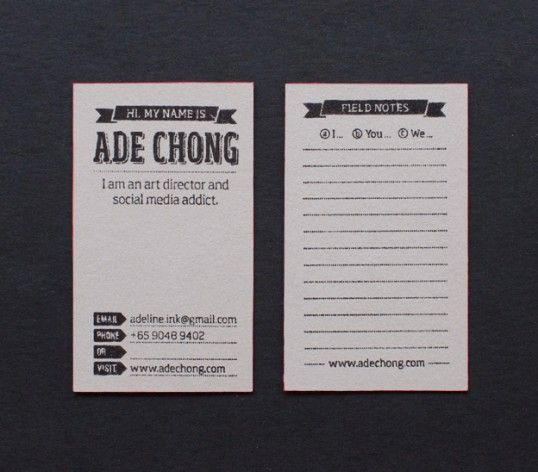 134 best design business cards images on pinterest visit cards ade chong business cards nice field notes on back side reheart Choice Image