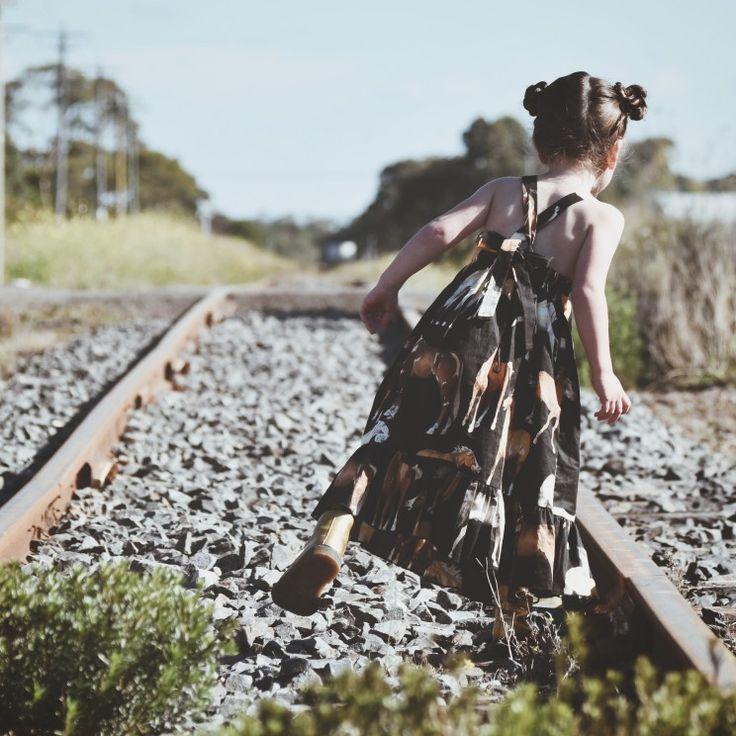Horse Maxi Dress Girls Kids Toddler Fashion Nlack Horse Print Fabric. Available in sizes 2-6. www.desertislandbrand.com