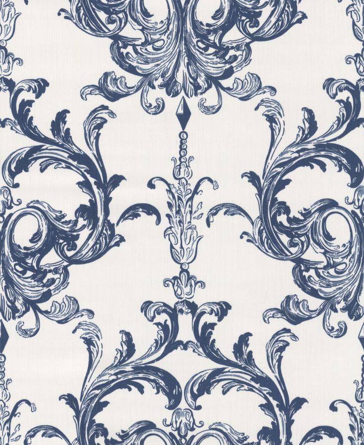 Blenheim Damask Midnight Blue Wallpaper By Architects Paper