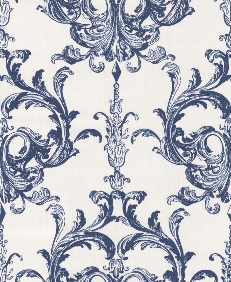 Architects Paper Blenheim Damask Midnight Blue Wallpaper main image