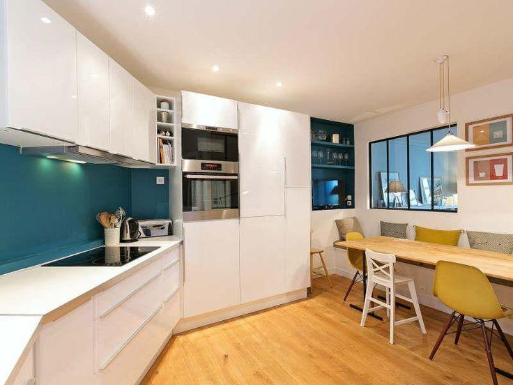 verriere sur salon table banc dans cuisine kitchen bars pinterest verri re cloison. Black Bedroom Furniture Sets. Home Design Ideas