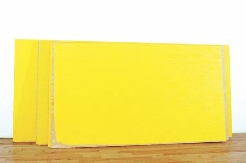 Russell Maltz,STACK - Safety Yellow, 1985, Traffic enamel on 6 plywood sheets, 48 x 141 x 20 inches /122 x 358 x 51 cm